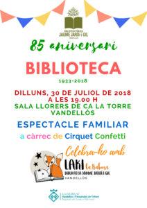 cartell 85 aniversari biblio Vandellòs